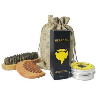 GUJHUI Fashion 3pcs/set Men's Beard Oil Care Sets Beard Oil + Balm + Comb Kit Beaty Makeup Tools 1