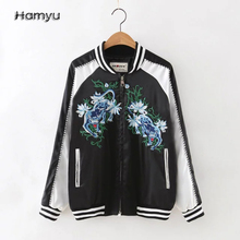 Free shipping new arrival American casual style leopard pattern embroidered veste femme longue bomber jacket women coat