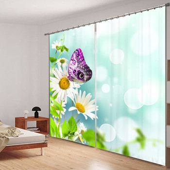 Modern Luxury Butterflies chrysanthemums 3D Blackout Window Curtains For girls Bedding room Living room Hotel Drapes Cortinas