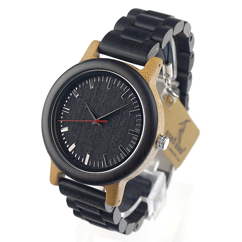 BOBO BIRD M18 Ebony Wood Bamboo Watch Mens relogio masculino Analog Men Wristwatch With Japan Movt Can Customized For Gift