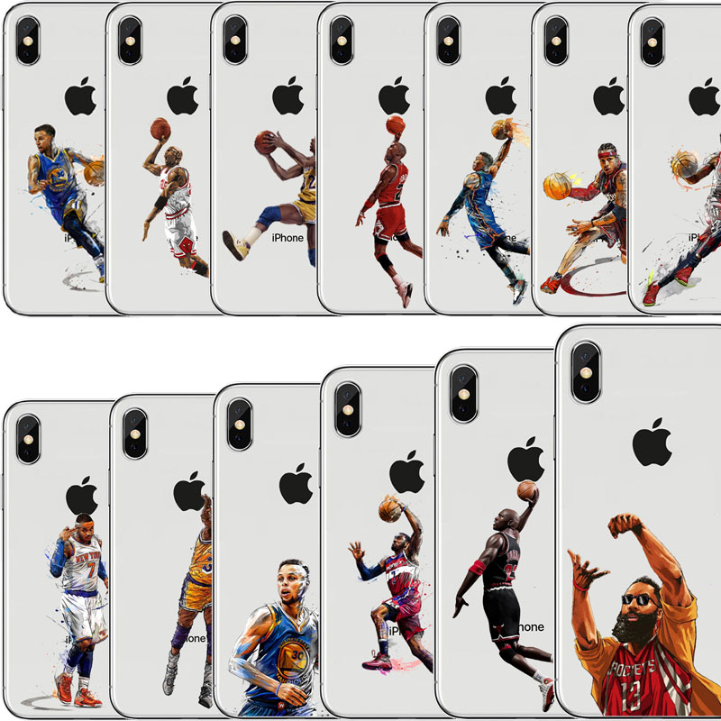 b6c2cc482415 Star Phone Case Basketball Star James Curry Harden Kyrie irving for iphone  7 8 6 6S PLUS X XS XR 5S SE Silicone Capinha