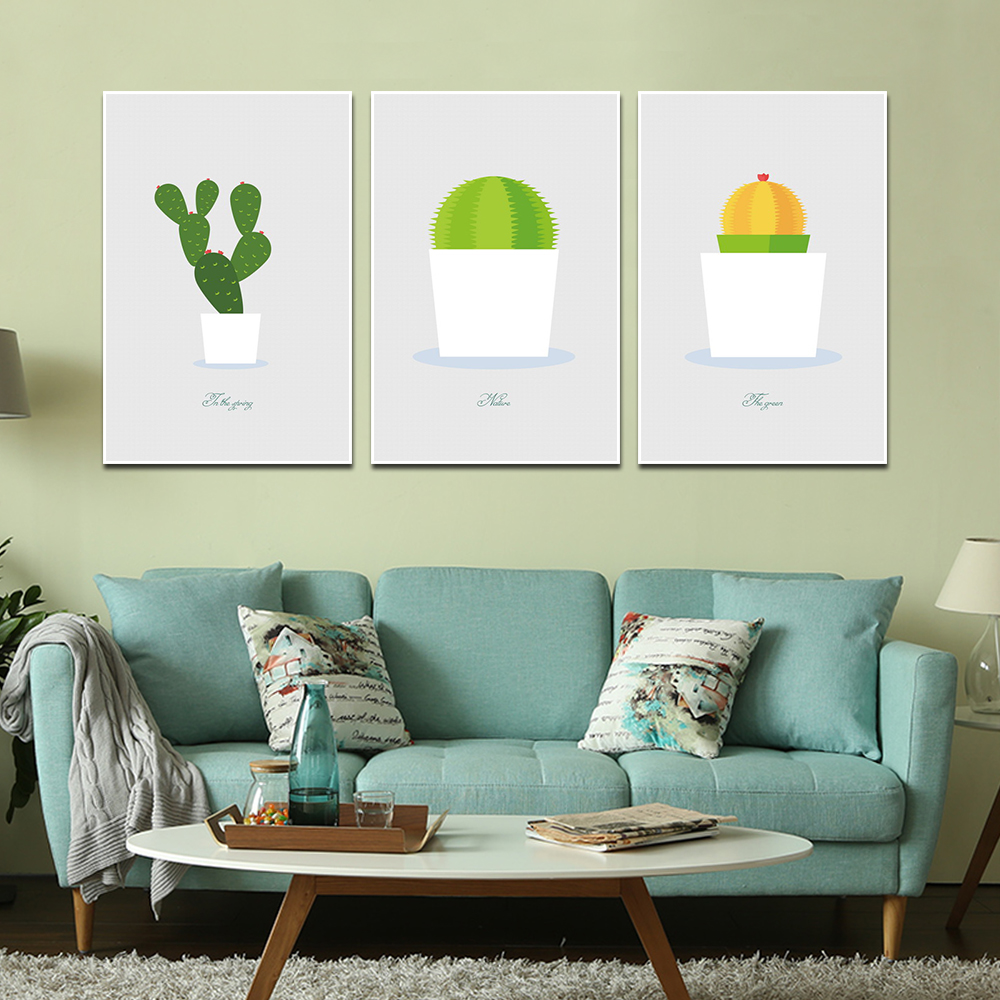 Unframed HD 3 Poster Simple Cartoon Art Painting Prickly Pear Printed Canvas Living Room Mural Cactus Decoration