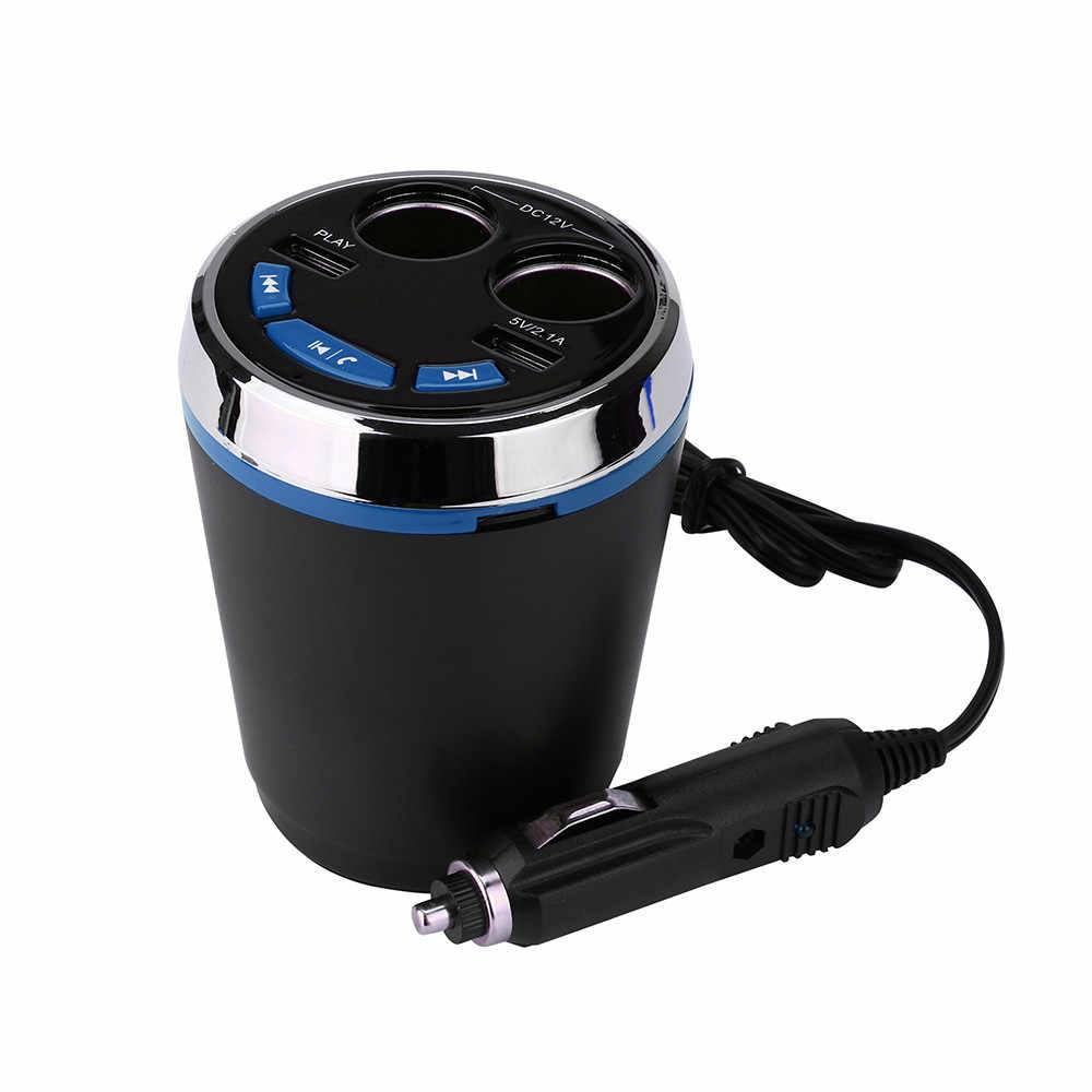Car Cup Charger Bluetooth LED Car Cigarette Lighter Kit MP3 Player Speaker 2Port USB Charger Blue Green Red Yellow