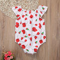 2017 Newborn Toddler Baby Girls Clothes Summer Short Sleeve Cotton Floral White Romper Jumpsuit Baby Sunsuit Clothes 0-18M