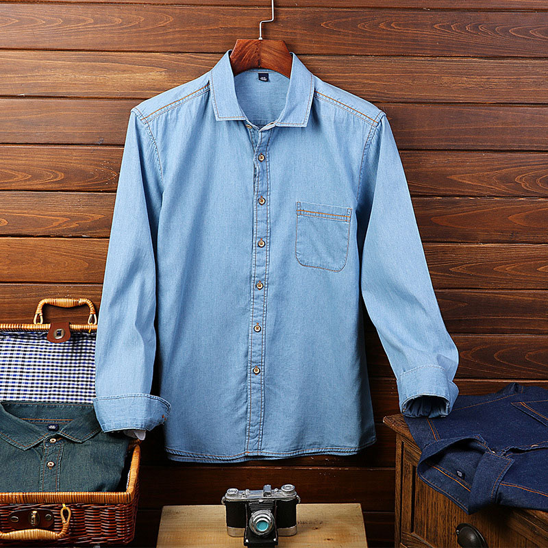 GVNDSJING High-Quality Light Blue Slim Denim Shirt Men 100% Cotton Casual Long Sleeve De ...