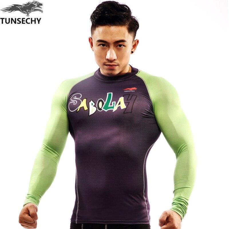 TUNSECHY Brand men long sleeve T shirt Newest font b Fitness b font Men Long Sleeve