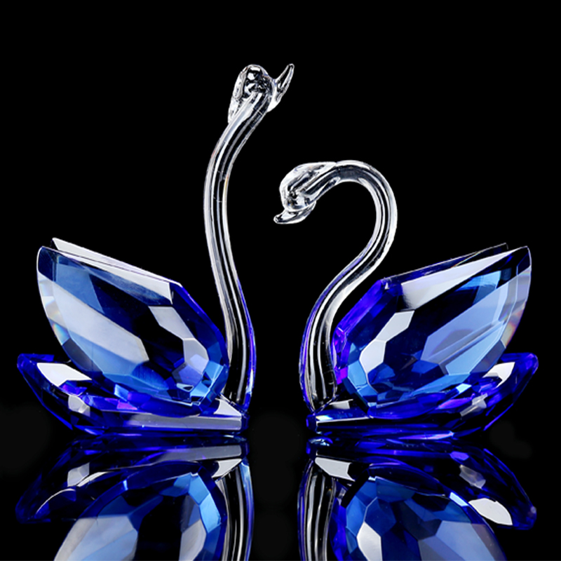 Crystal Swan Crafts Glass Paperweight Figurine Gift Ornaments Figurines Home Wedding Party Decor Gifts Souvenir
