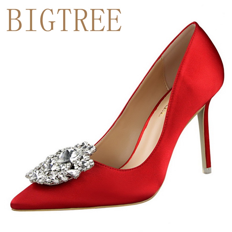 Spring Autumn Rhinestones Sexy Was thin women pumps Shallow mouth Pointed Shiny Rhinestones decoration 10 CM Fine high heels sho bigtree spring autumn silk women pumps shallow mouth pointed shiny rhinestones 10 5 cm fine high heels shoes