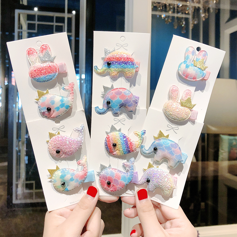 New 2PCS/Set Girls Sweet Colorful Elephant Whale Rabbit Hairpins Children Cute Hair Clip Headband   Headwear   Kids Hair Accessories