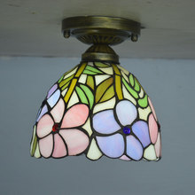 Tiffany Ceiling Light Stained Glass Lampshade Fresh Country Flowers Bedroom Lamparas Luminaria E27 110-240V