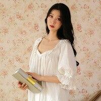 2018 Autumn long nightdress 100%cotton Grace White Arab Princess Victorian nightgown Romantic Women home dress Vintage sleepwear