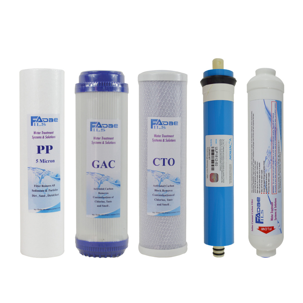 Universal 5 Stage Water Purifier Replacement Water Filter Cartridges Kits with 50GPD Membrane Elements and Pre