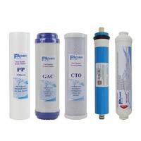 5 Stage Water Purifier Water Filter Cartridges 10 PP GAC CTO 50G RO Membrane Post Carbon