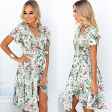 Summer Beach Casual Mini Dress women 2019 Dress Womens Floral Leaf Printed Lantern Sleeve Empire Dress Ladies floral printed bell sleeve mini dress