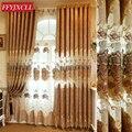 Декор на заказ роскошные виллы коричневый цветок занавеска окно для гостиной спальни вышитый тюль