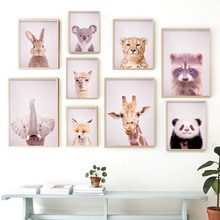 Animals Fox Elephant Giraffe llama Rabbit Nordic Posters And Prints Wall Art Canvas Painting Pictures For Living Room Decor
