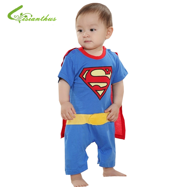 3045064cb Baby Boy Romper Superman Batman Short Sleeve with Smock Infant ...