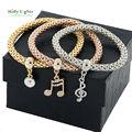 Mujeres chapado en oro cristal strass carter love bracelet & bangles rhinestone egipcio música carta conjunto de perlas cadena de plata de la joyería