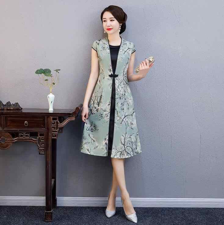 Summer New Pink Rayon Cheongsam Elegant Women' s Handmade Button Dress Short Sleeve Knee Length Sexy Print Short Dress M-4XL