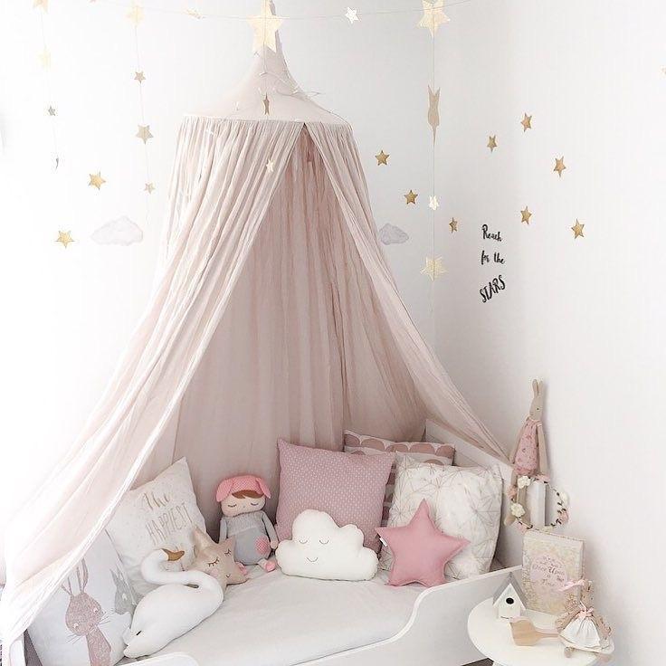 240cm baby room decoration home bed curtain round crib for Baby cot decoration ideas