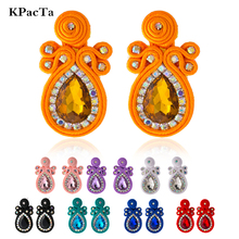 KPacTa Fashion Soutache Handmade Big Earring Ethnic Jewelry Women Crystal Decoration Accessories Drop boucle doreille