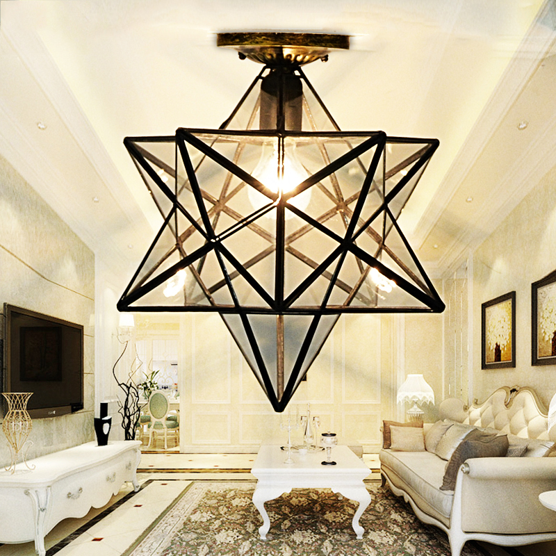 Loft Vintage Ceiling Lamp Light, Shooting Star Tiffany Glass Pendant Lighting for Home Aisle Corridor Porch Shop zoom led flashlight 1000 lumens 10w long range outdoors portable light fishing hiking camping luminum alloy torchlight