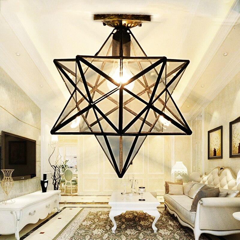 Loft Vintage Ceiling Lamp Light, Shooting Star Tiffany Glass Pendant Lighting for Home Aisle Corridor Porch Shop