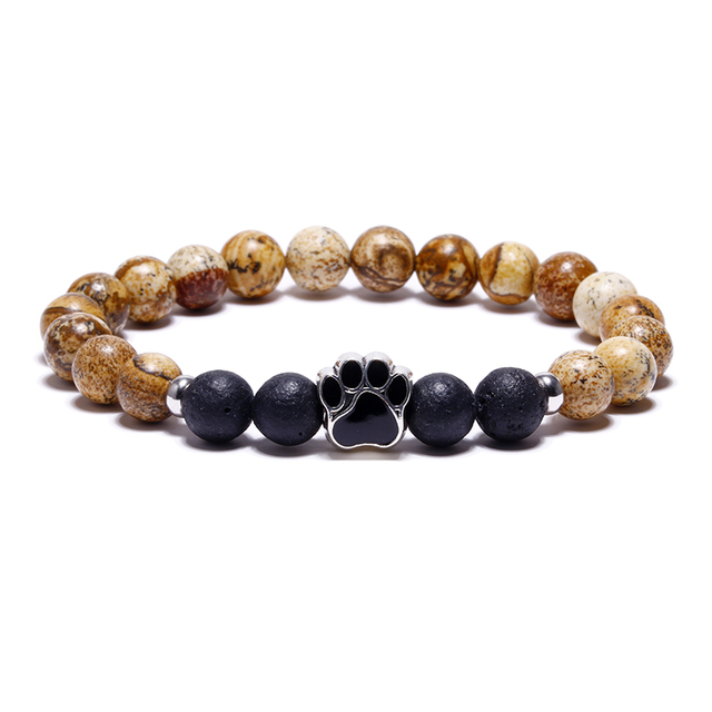 11 Colors 8mm Colorful Natural Stone Beads Bracelets Dog Cat Footprint Paw Charms Bracelet Pet Lovers Elastic Rope Pet Jewelry