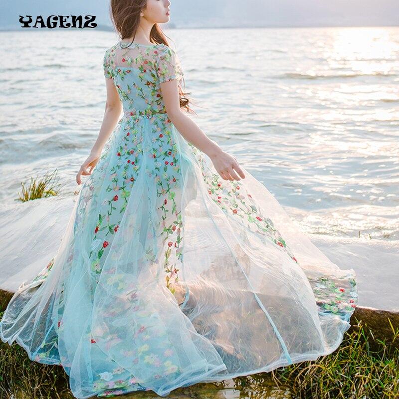 Vintage fille dentelle broderie fée Robe complète mignon plage été broderie Robe femmes élégant fleur Robe Robe Robe Vestido