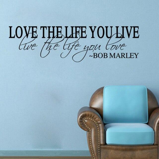 Liebe das leben vinyl quote bob marley wandtattoo home decor ...