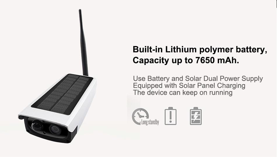 Smar გარე წყალგაუმტარი დაცვა მზის კამერა 1080P Wifi უსადენო IP კამერა მობილური ტელეფონი დისტანციური მართვის ჩამონტაჟებული 7650mA აკუმულატორი (2)