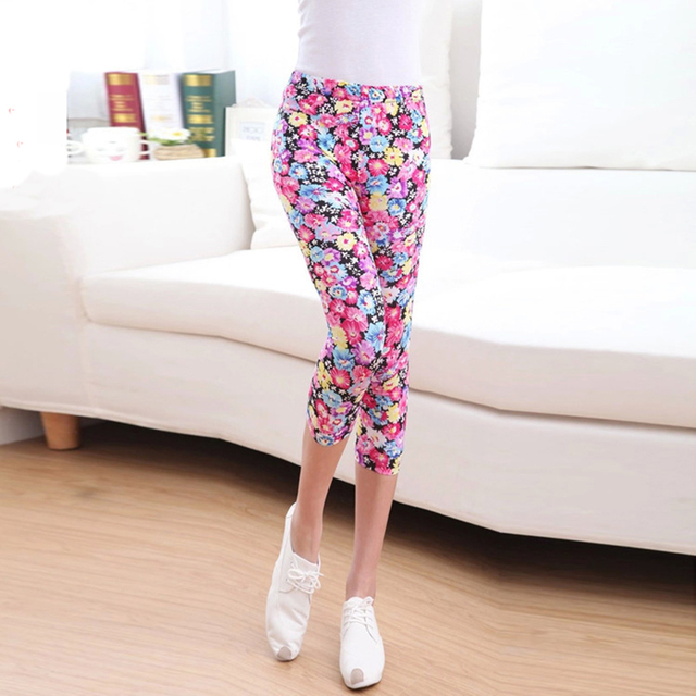 Hot Spring Summer Seven Cropped Skinny Pants Leggings Thin Print Pattern Bottom Trousers Floral Flowers Super Elastic Soft Women