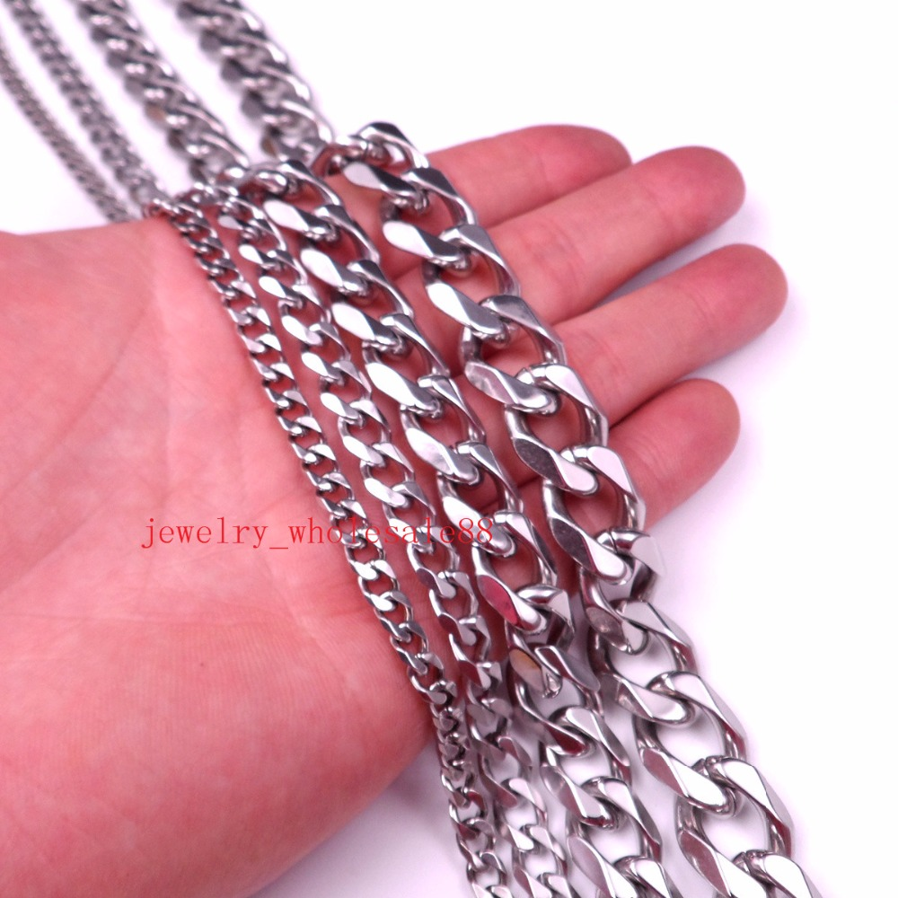 GNAYY Lot 2meter In Bulk 5mm/8mm/13mm Stainless Steel Curb Cuban Chain Cool Fashion Jewelry Finding Marking Chain DIY