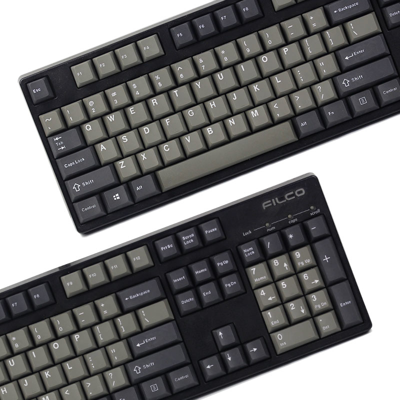 KBDfans new arrival Black Grey mixed Dolch Thick PBT Double shot 87 106 Keycaps Cherry Profile