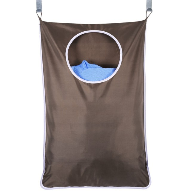 Oxford Wall Hanging Laundry Hamper Bag 2 Suction Cup Hooks With Stainless Steel
