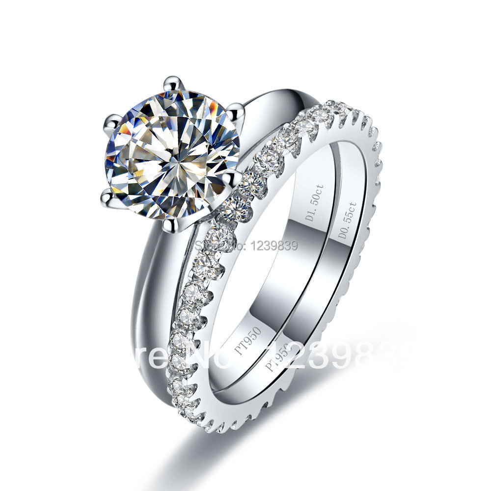 3ct wedding bridal sets for women 925 sterling silver rings white gold color synthetic diamonds ring - Sterling Silver Diamond Wedding Rings