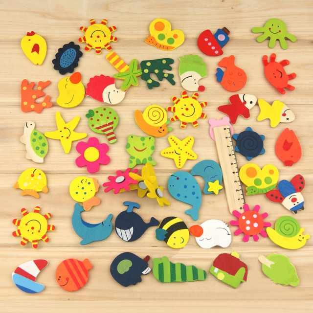 12 шт. (1 упаковка) Развивающие деревянные игрушки Подарок для маленьких детей мультфильм смешной деревянный Кухня магнит на холодильник Сти...