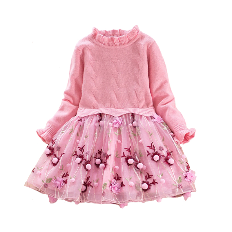 Children Dress Autumn/spring Baby Girls Dress 2018 Knitted Cotton Long Sleeve Embroidered Lace Tutu Clothing for fille 4y-8y vintage round collar long sleeve embroidered organza dress for women page 7