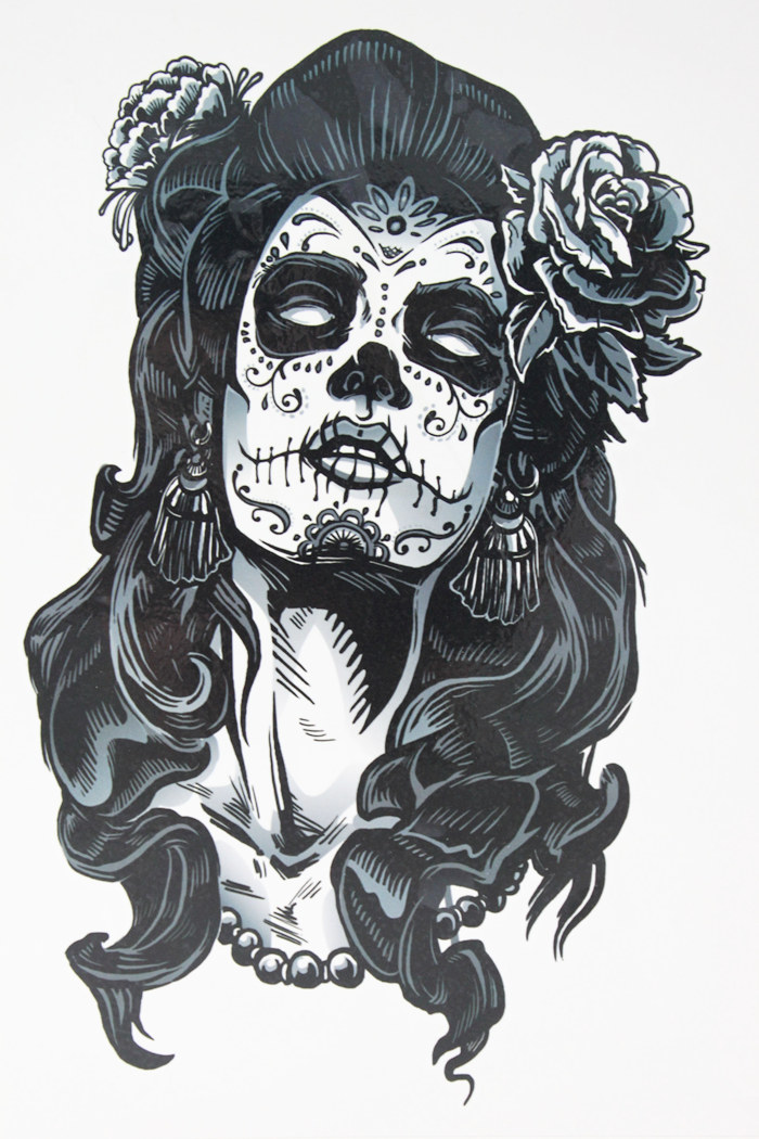 Gangster Rose Tattoo Girl 21 X 15 CM Sized Sexy Cool Beauty Tattoo Waterproof Hot Temporary Tattoo Stickers