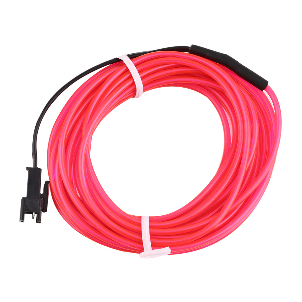 High Quality Colorful 4m Flexible EL Wire Tube Rope Neon Light DC 12V Car Party Bar Decor Universal