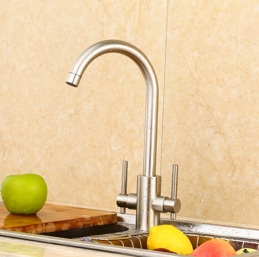 online get cheap kitchen faucet sale aliexpress com alibaba group hot sale fashion double handle kitchen faucet brass material modern brushed design hot and cold