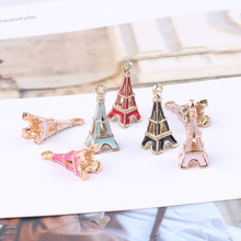 10pcs Oil Drop Eiffel Tower Charms Metal Cute 3D Charm Pendants Gold-Color Floating Enamel DIY Jewelry Accessories YZ039