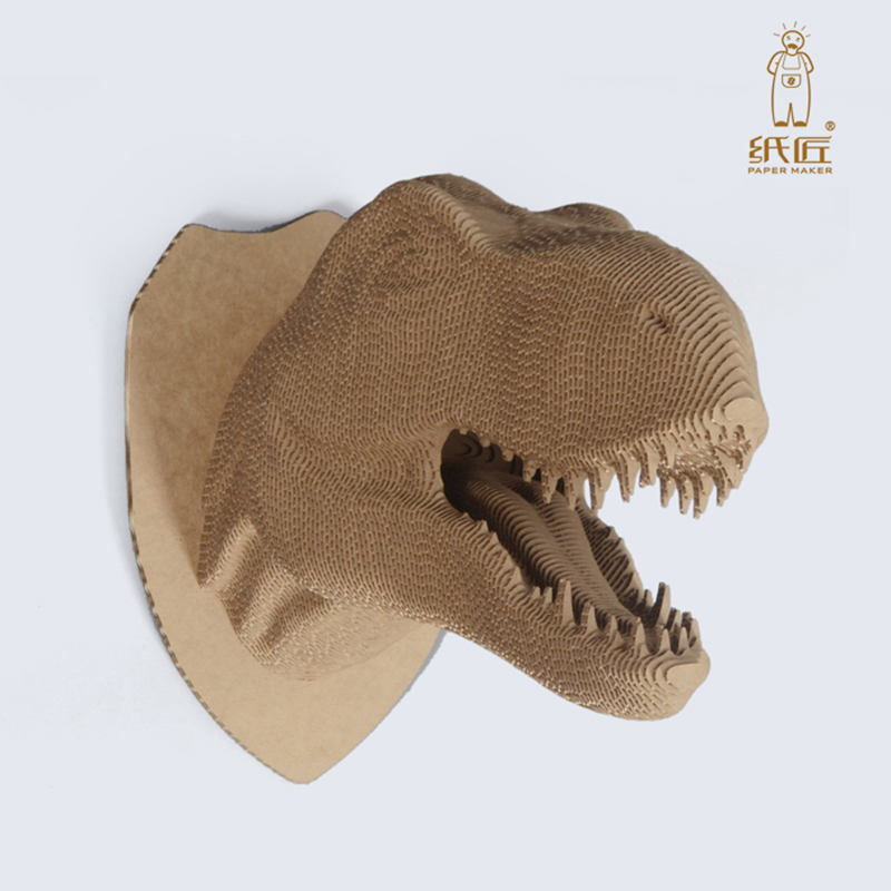 2018  papermaker new kid toy  Tyrannosaurus Rex children game family game dinosaur head animal diy metal puzzle iq mind brain game teaser square educational toy gift for children adult kid game toy