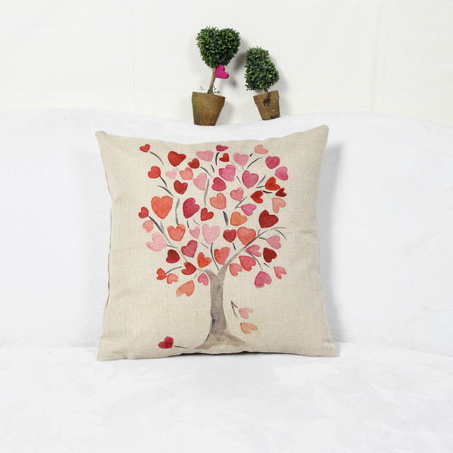 Peach tree with simple modern sofa cushion linen pillow bed