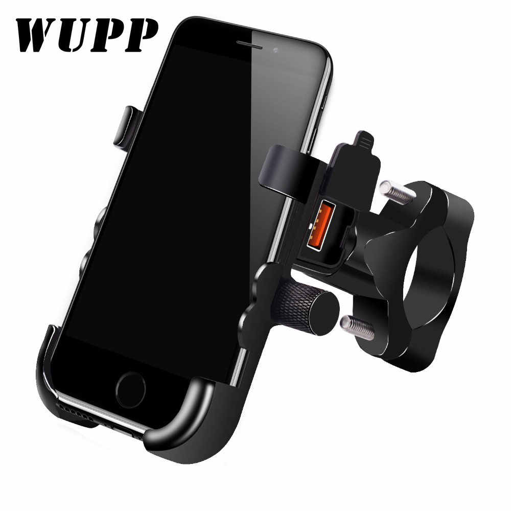 WUPP Universal QC 3.0 USB Motorcycle Charger Phone Holder Waterproof 12V MotorBike Mobile Phone Mount Power Adapter Handlebar
