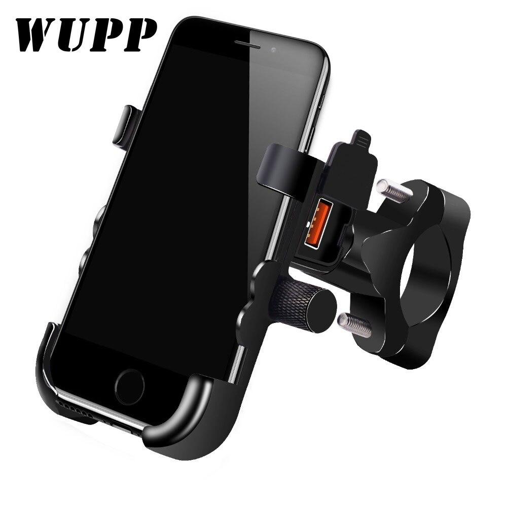 WUPP Universal QC 3.0 USB Motorcycle Charger Phone Holder Waterproof 12V MotorBike Mobile Phone Mount Power Adapter Handlebar