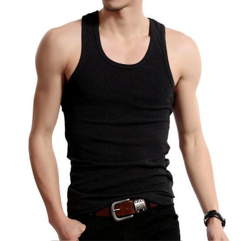Cheap Underwear Men Undershirt Sleeveless Cotton Plain Slimming Vest Bodysuit Croset Singlet Inner Shirt Back White Gray Casual