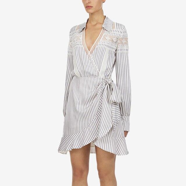 Self Portrait Dress 2019 Women High Quality Elegant Ruffles V-neck Long Sleeve White Striped Dress Vestidos