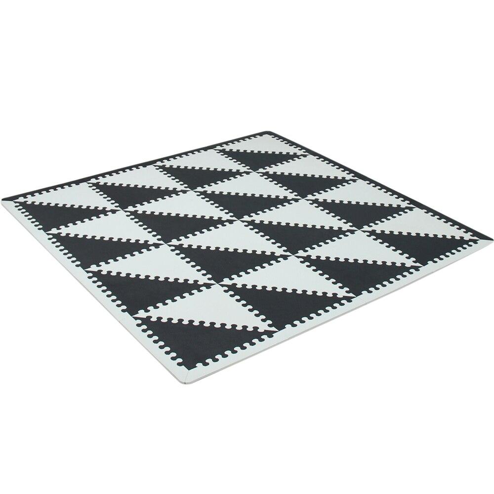 MQIAOHAM bébé EVA mousse puzzle tapis de jeu/entrelacement exercice tapis de sol carreaux, tapis pour enfants triangle 35 CM * 1 CM noir blanc - 6