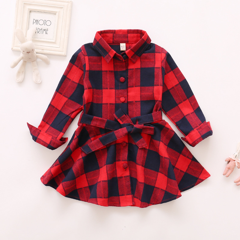 3-7 New Fashion Girl Plaid Dress Printed Children Clothing Kids Casual Long Sleeve Baby Girl Dresses Outwear Cotton Vestidos